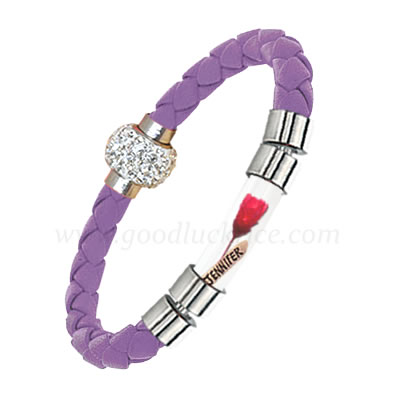 BRM-11LIGHTPURPLE (Light Purple Leather Rice Bracelet)